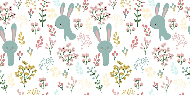 Blue bunny and floral illustration in seamless pattern