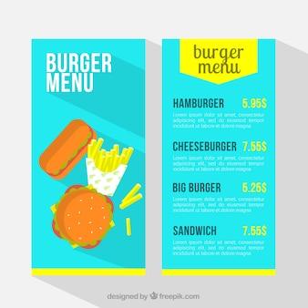 Меню для синего гамбургера