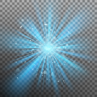 Синий цвет вспышки усиливает свет.