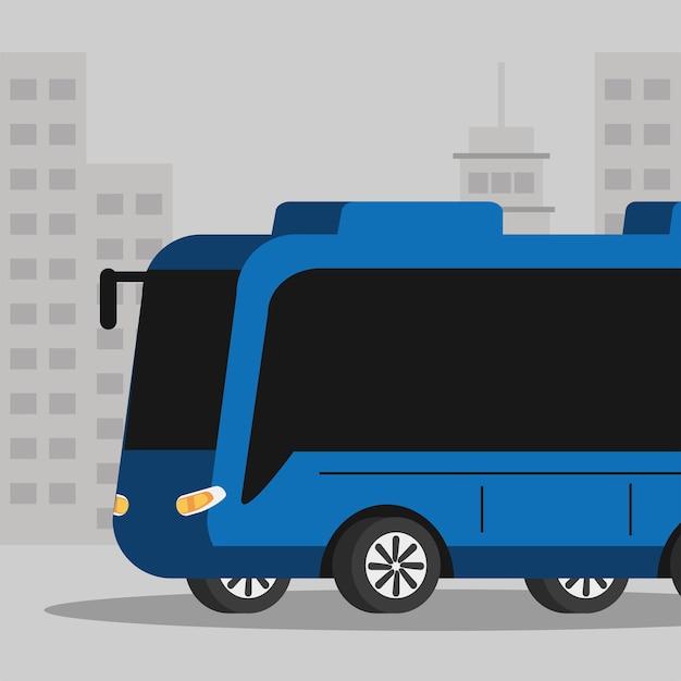 도시에서 파란 버스 대중 교통