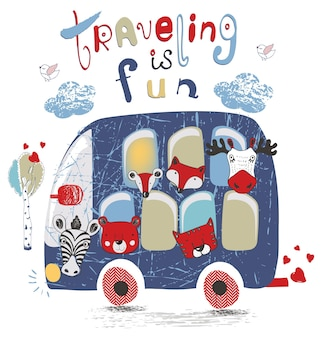 Blue bus with animalsfox tiger bear elkmoosehand drawn vector illustrationcan be used for kid