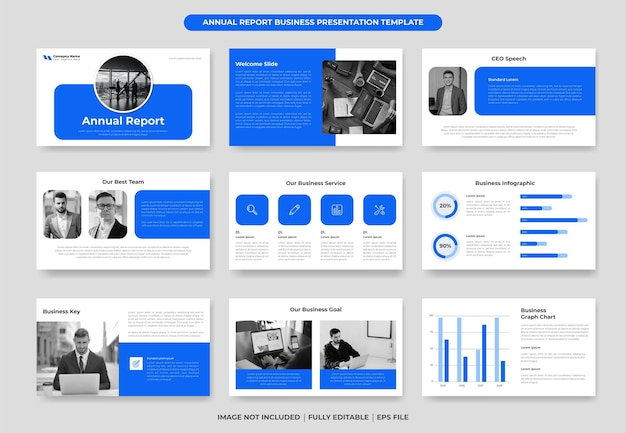 Blue business annual report powerpoint template deisgn
