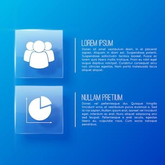 Sfondo blu business con icone e luogo per il testo creato per l'uso in presentazioni e su siti web