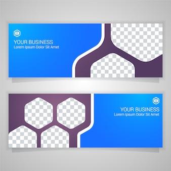 青いビジネスバナーのテンプレート