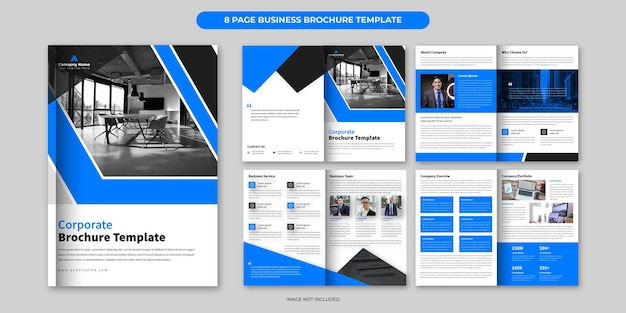 Blue business brochure template design or 8 page corporate brochure layout minimal business brochure