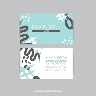 Blue business card for artists