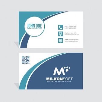 Blue business card decorated with wavy lines
