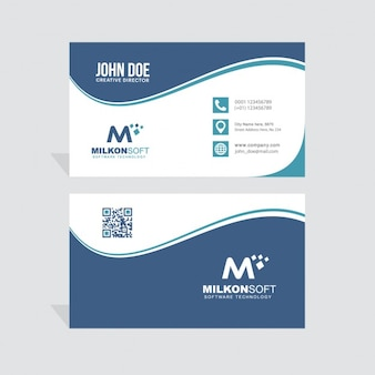 Blue business card decorated with wavy shapes