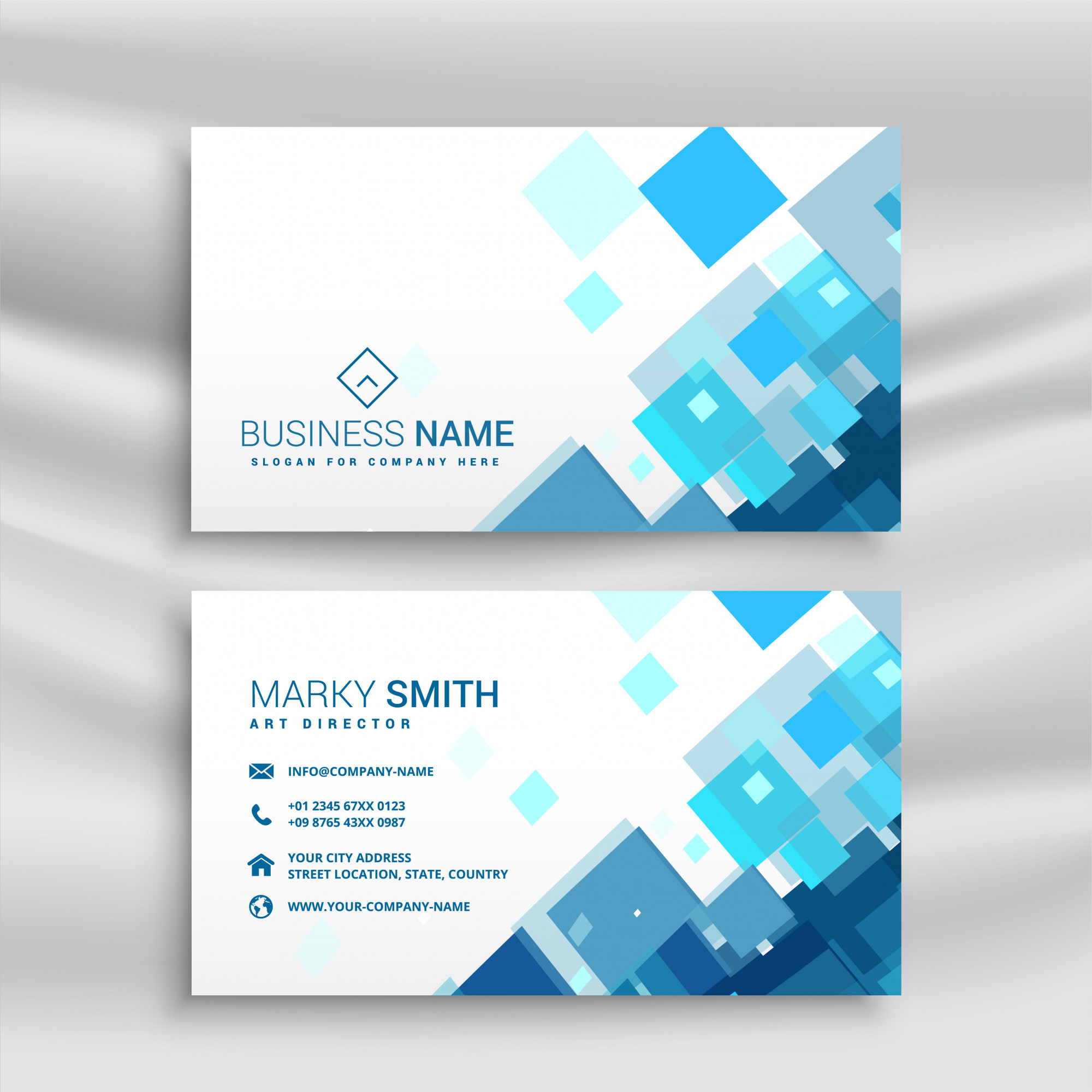 Blue business card design template