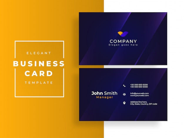 Blue business card or horizontal template design in front and back view.