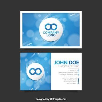 Blue business card out of focus