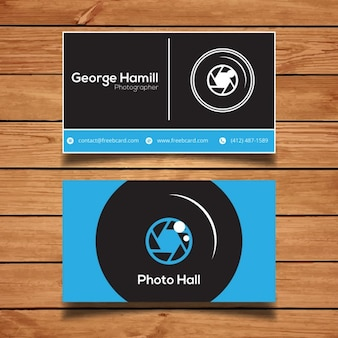Blue business card for photography