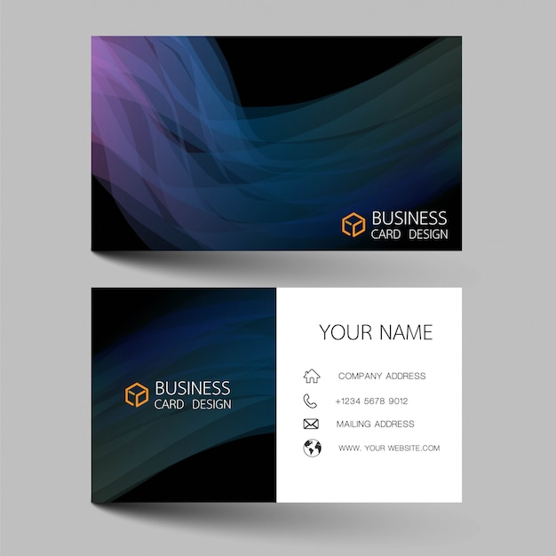 Blue business card template design.