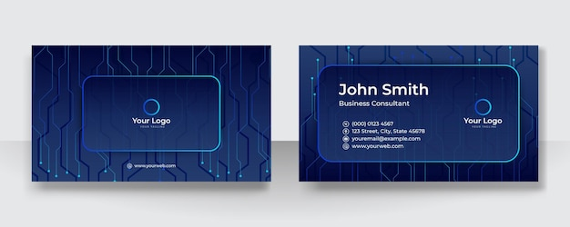 Blue business card template. technology business card design concept. visiting card for business and personal use. vector illustration design tech background