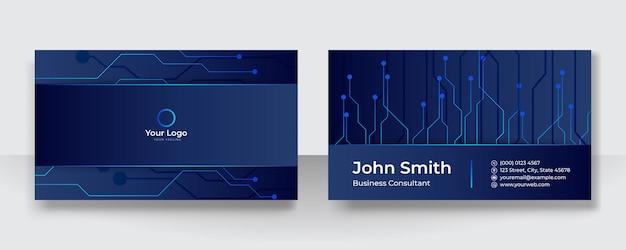 青い名刺テンプレート。技術名刺デザインコンセプト。ビジネス用および個人用の名刺。ベクトルイラストデザイン技術の背景