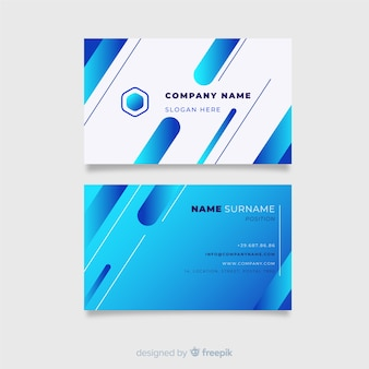 Blue business card template with logo