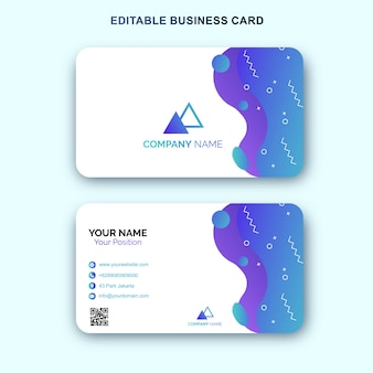 Blue business card template with memphis design