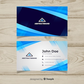 Blue business card with abstract design