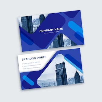 Blue business card with abstract shapes and photo
