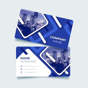 Blue business card with abstract shapes