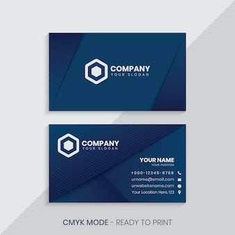 Blue business card with geometric lines