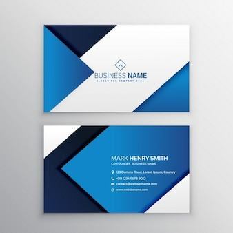 Blue business card with geometric shapes