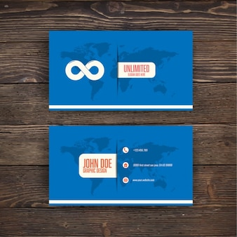 Blue business card with the infinity symbol