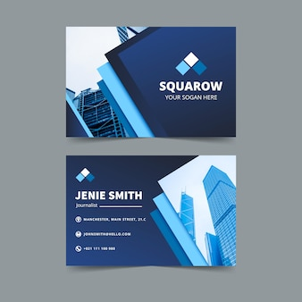 Blue business card with photo template