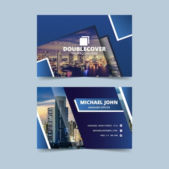 Blue business card with photo