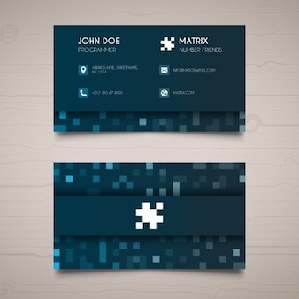 Blue business card with pixels