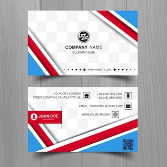 Blue business card with red shapes