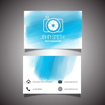 Blue business card with watercolors