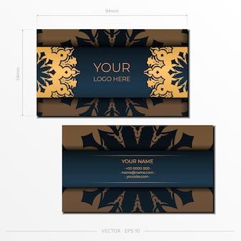 블루 명함입니다. 장식용 명함 장식품, 동양 패턴, 삽화. 인쇄 준비, 인쇄 요구 사항 충족
