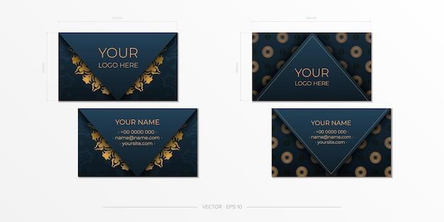 장식 장식품 명함, 동양 패턴, 일러스트와 함께 블루 명함.