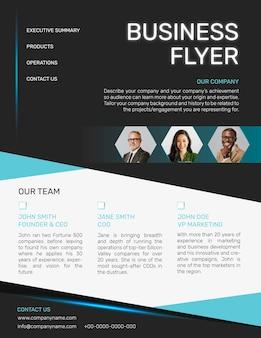 Blue business flyer template in modern design
