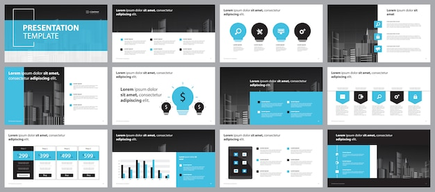 Blue business presentation page layout design  template