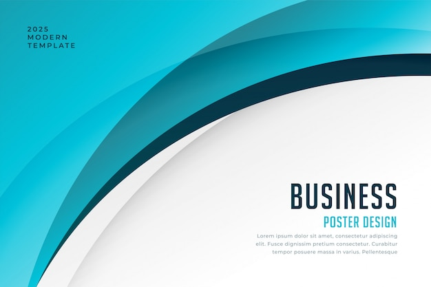 Blue business wave background design template