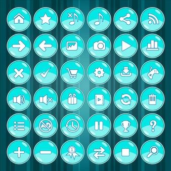 Синяя кнопка и значки игры на зеленом