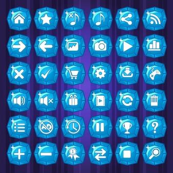 Синие кнопки и значки игр на фиолетовом