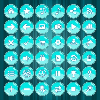 Blue button and icons games on green