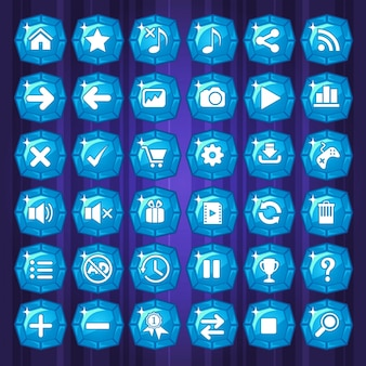 Blue button and icons games on purple