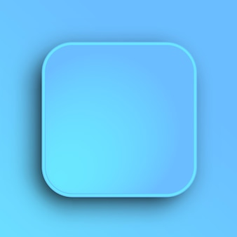 Blue button template with realistic shadow on gradient background