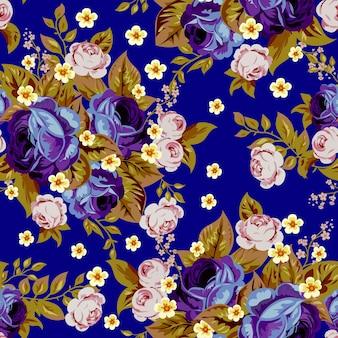 青キャベツのバラと小さな白い花、シームレスなパターン3