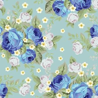 青キャベツのバラと小さな白い花、シームレスなパターン