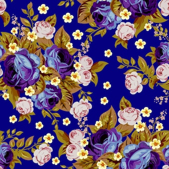 Blue cabbage roses and small white flowers ,seamless pattern 3