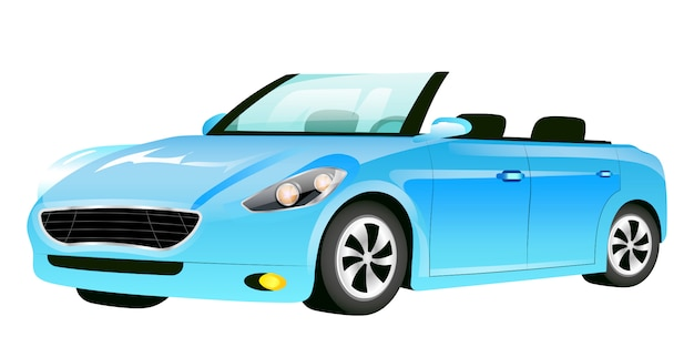 Blue cabriolet cartoon  illustration. fashionable car without roof  color object. luxurious auto, modern personal transport  on white background. stylish automobile side view