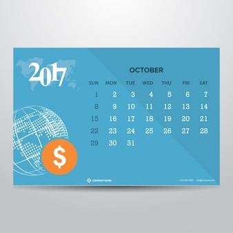 2017年10月のためのブルーカレンダー
