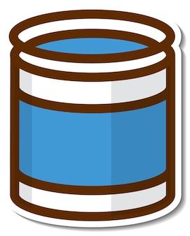 Adesivo cartone animato lattina blu su sfondo bianco
