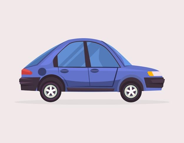青い車。フラット漫画イラスト