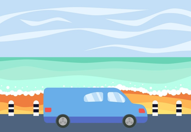 Blue car on the road against the backdrop of the sea. vector illustration.